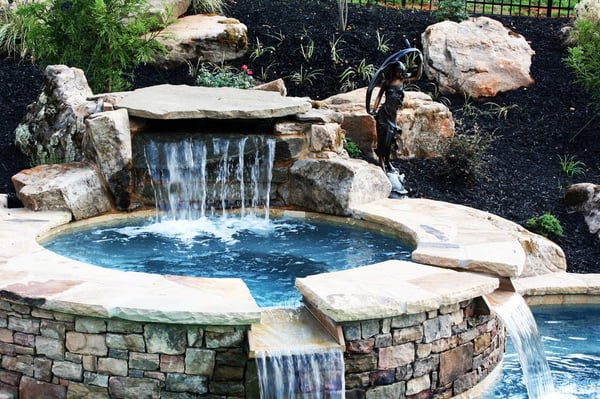 Creative waterfall drops into spa spa double drops into - Crystal pools waterfall ...