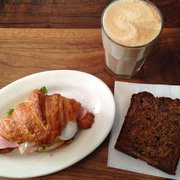 The ham and egg croissant, banana and walnut bread, & a whole milk latte.