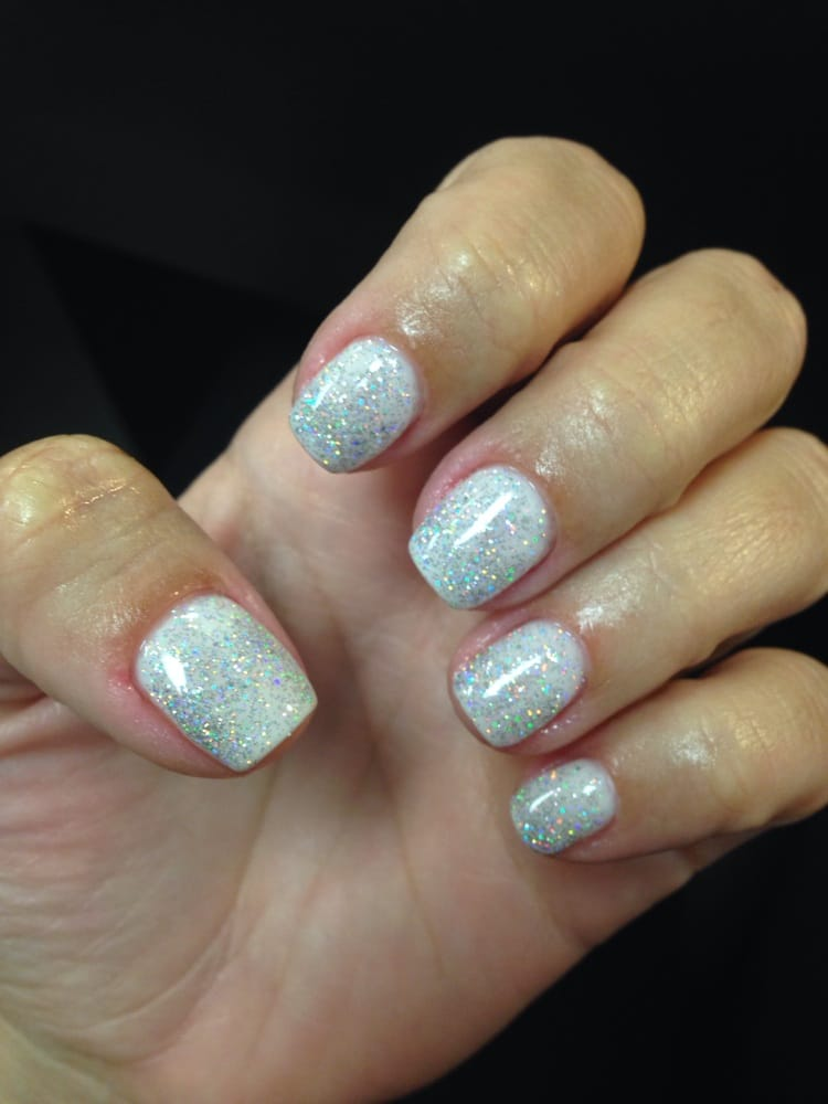 Gel manicure with marshmallow gin & hologram diamond on top | Yelp