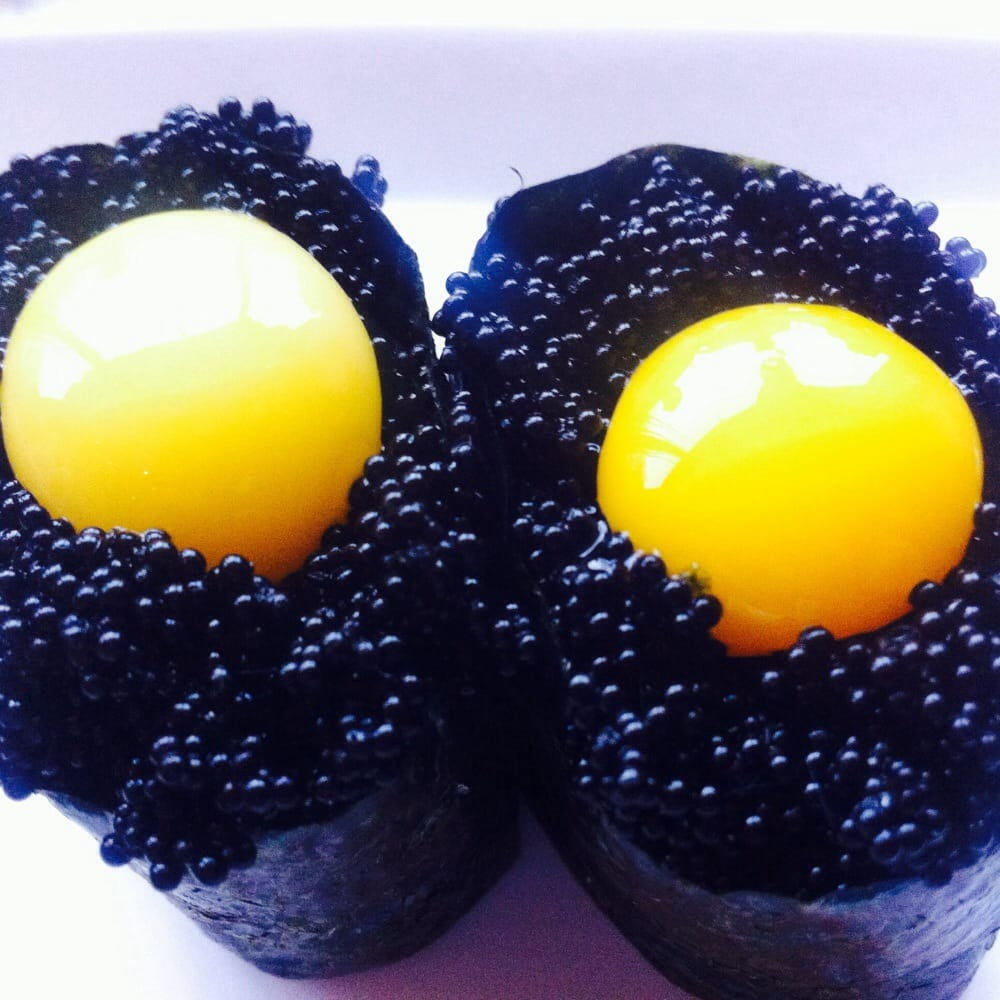 Black tobika flying fish roe with quail egg yelp for Flying fish egg