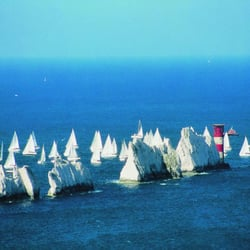 The Needles and lighthouse (Mist, leider nicht von mir, sondern von hovertravel.co.uk)