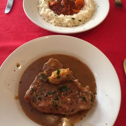 Prawn with rice & Veal chop in an amazing white wine, rosemary gravy.