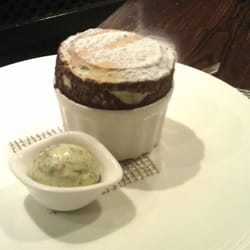 Pistachio souffle and ice cream.