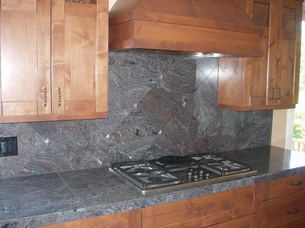 tiles on counter 12x12 diagonal backsplash w pewter accents yelp