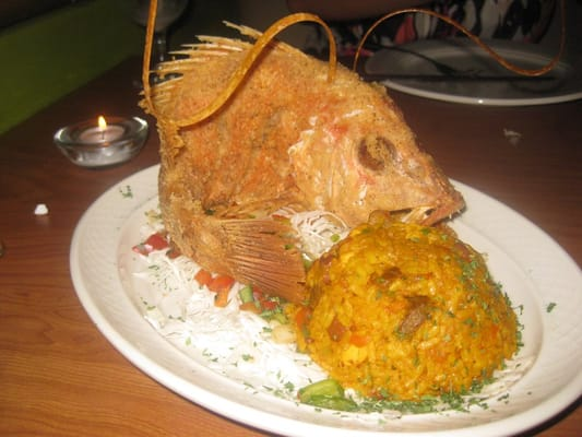 Platos - fried whole red snapper (small) w/ Puerto Rican rice - Carolina, Puerto Rico, Puerto Rico