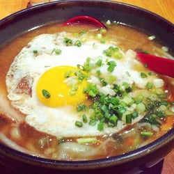 miso udon with pork and egg