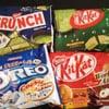 Nestle crunch green tea, Kitkat green tea, Kitkat orange and hazelnut, Oreo cookies and cream.