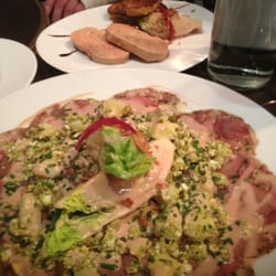 Le comptoir du relais carpaccio and small lettuce heads the plate on the top is the foie gras - Le comptoir du relais restaurant reservations ...