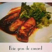 Foie gras in honey peach sauce