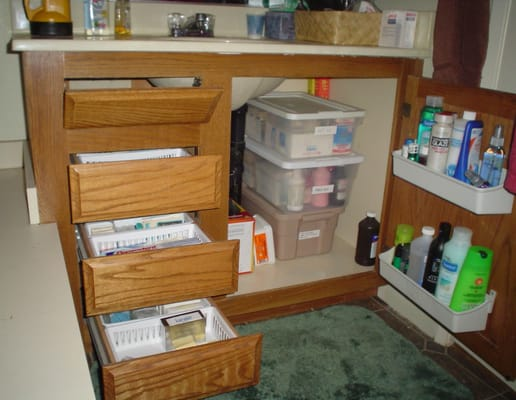 organized bathroom cabinets and drawers yelp