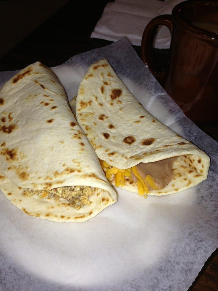 Rocky's Taco House - Chorizo and egg taco and bean and cheese taco ...