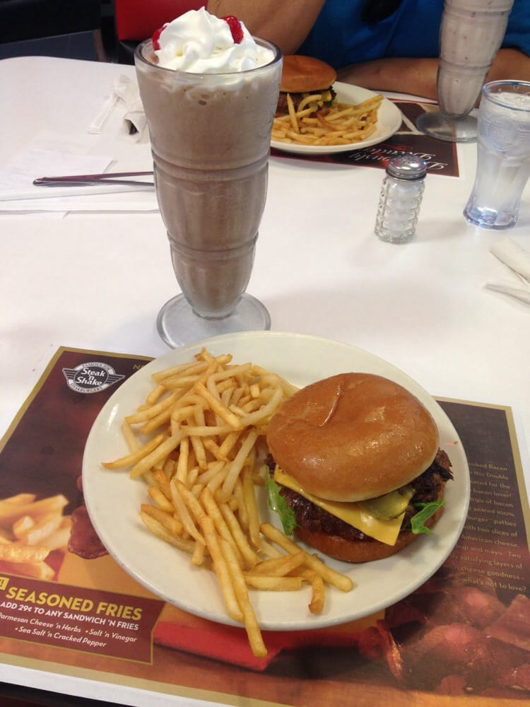 Steak 'n Shake - Cape Coral, FL, United States. Classic double cheeseburger & fries with a chocolate banana milkshake!!!