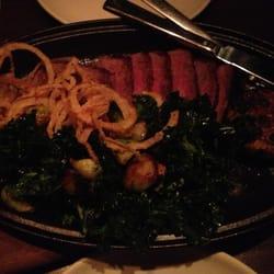 The Bar Downstairs - Flat Iron Steak (steak, onion rings, kale, Brussel sprouts, garlic): $32 #YUM - New York, NY, Vereinigte Staaten
