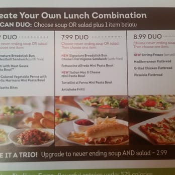 Olive Garden Lunch Menu Prices