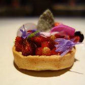 Tartlet of English Flowers - Wild Strawberries, Chamomile Cream, Wild Honey Ice Cream, Strawberry Sorbet