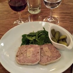 Terrine of foie gras with spinach and gherkins