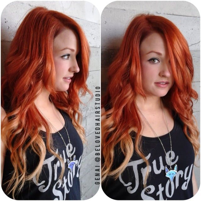Red And Blonde Ombre Extensions 116