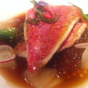 Red mullet, bonito and tapioca broth, Asian greens