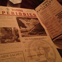 Menu in old Western style newspaper.