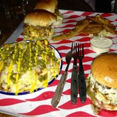 Mushroom Swiss (foreground), 2*dead hippies, deep fried pickles and chilli cheese fries