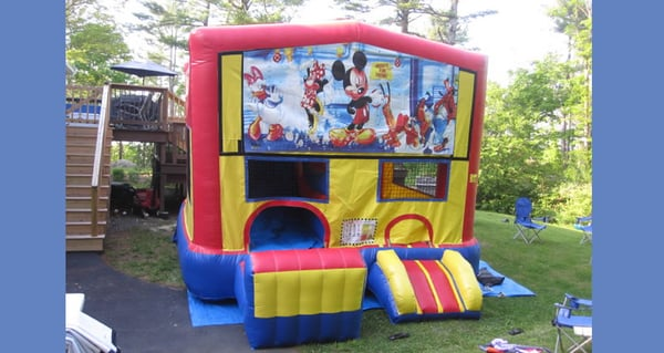 Inflatable Mickey Mouse Club House Moonwalk Combo For Rent