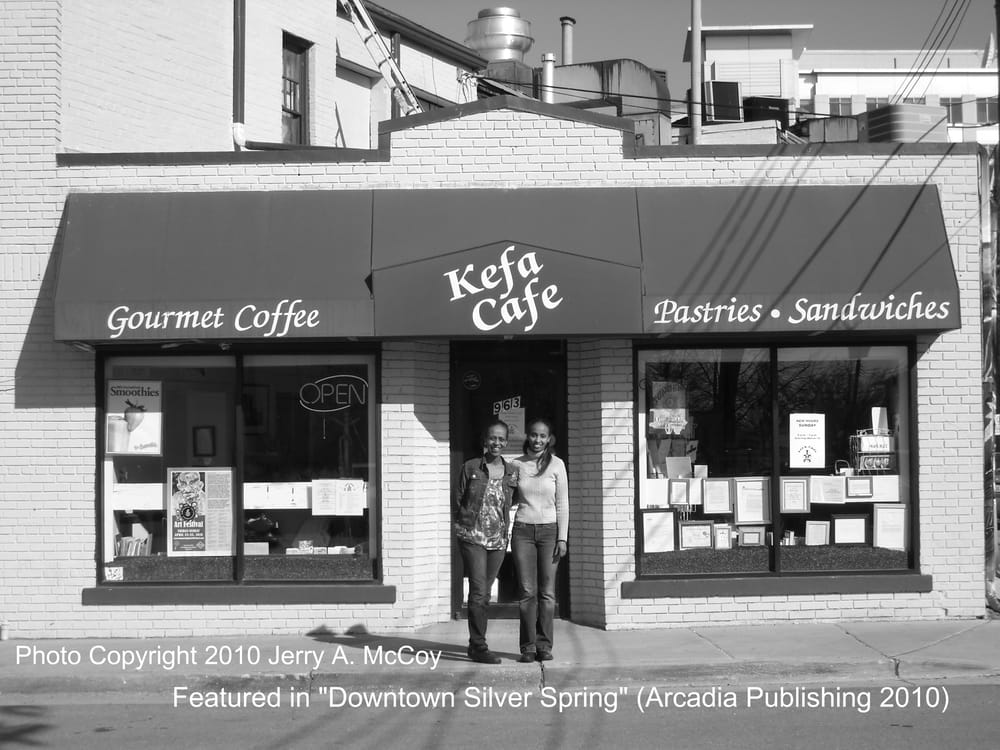 Kefa Cafe - Silver Spring, MD, United States. L-R Lene and Abeba Tsegaye pose in front of their business.