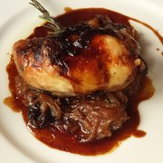 Chicken leg with carmelized onions, prunes and apricot. Delicious!