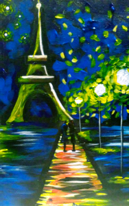 Paint love in paris at pinot 39 s palette chesterfield for Wine and paint st louis