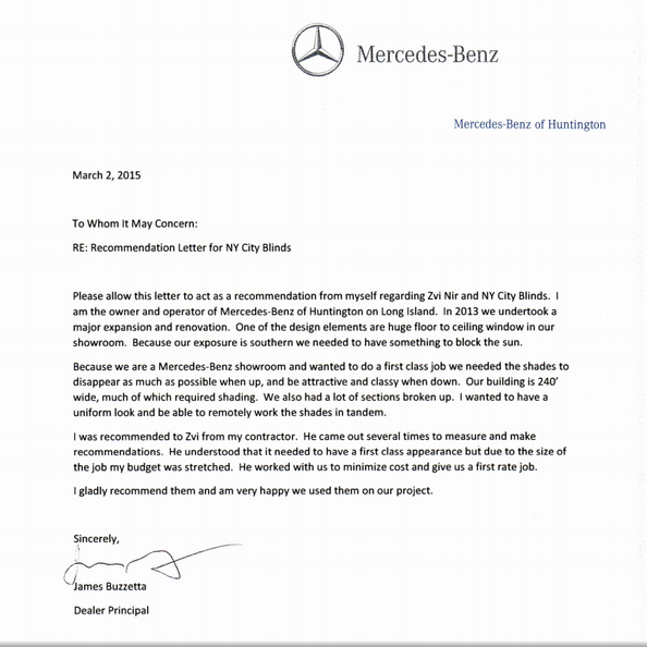Recommendation letter from mercedes benz huntington for Mercedes benz customer service email address