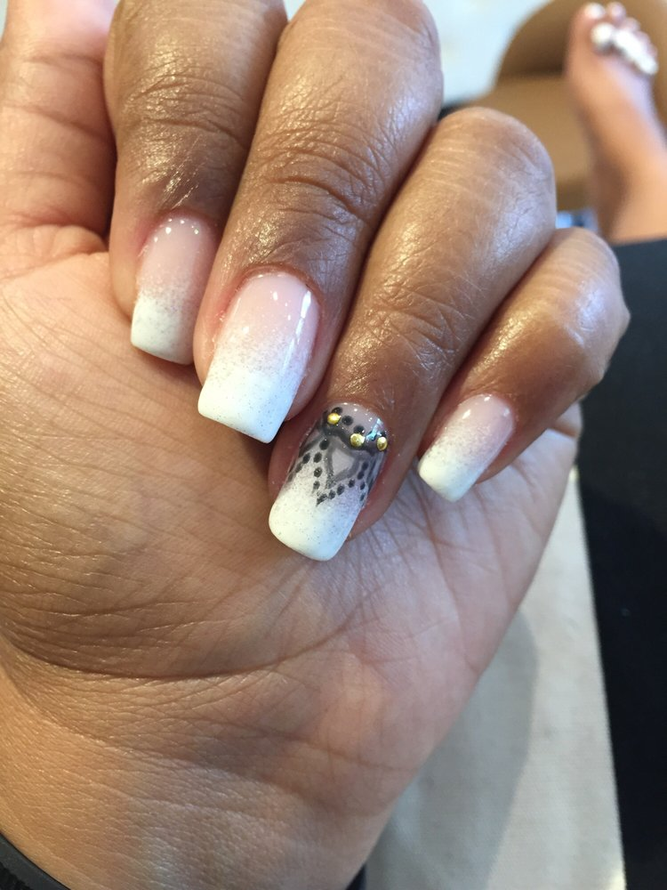 Ombré French tip on my natural nails. - Yelp