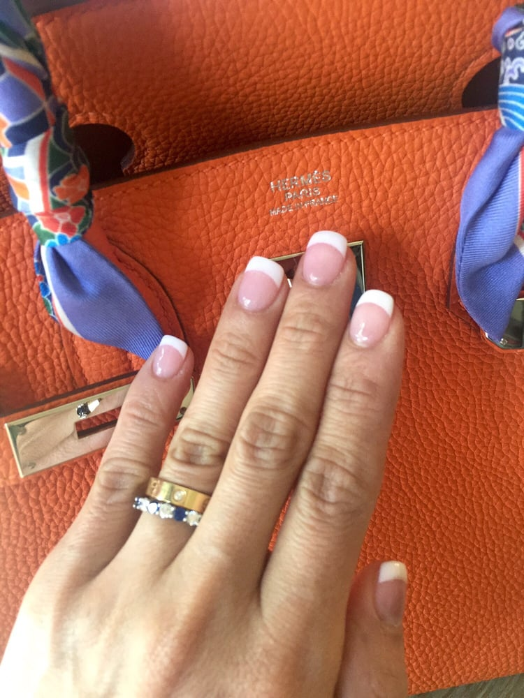 My SNS Nails pink & white French tips - Yelp
