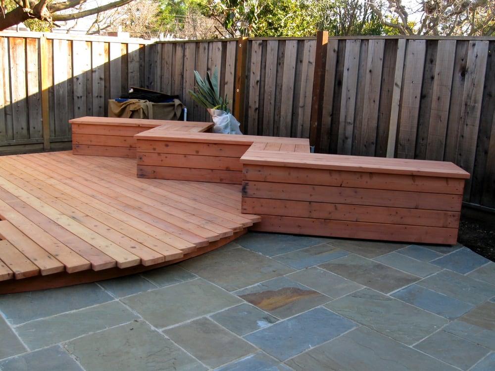 Deck design, framing koi pond and bluestone patio, with redwood ...