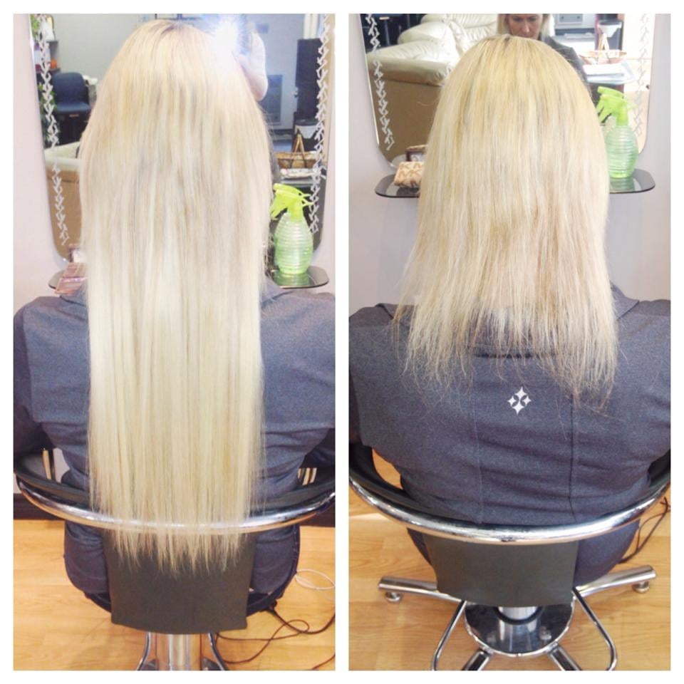 Hot Fusion Hair Extensions Before Application And After Application