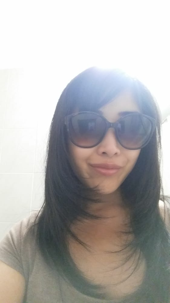 Long Haircut With Layers And Side Swept Bangs Hairstylist Vicky