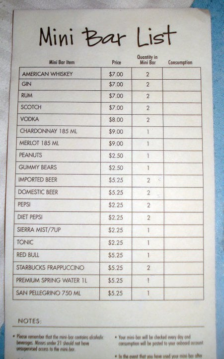 Mini Bar Price List On The Norwegian Sky Yelp
