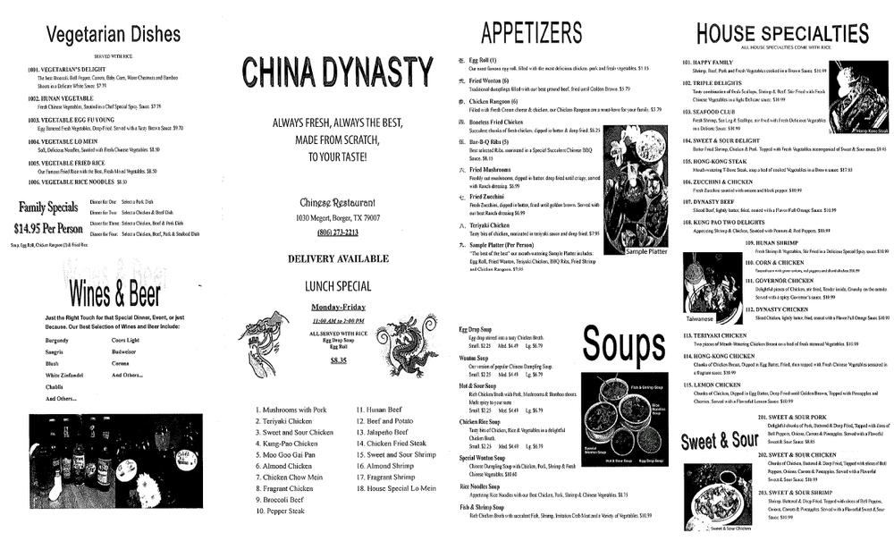 China Dynasty: 1030 Megert Ctr, Borger, TX