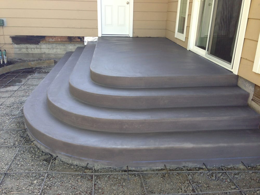 concrete landing steps finished smooth with gray color yelp. Black Bedroom Furniture Sets. Home Design Ideas