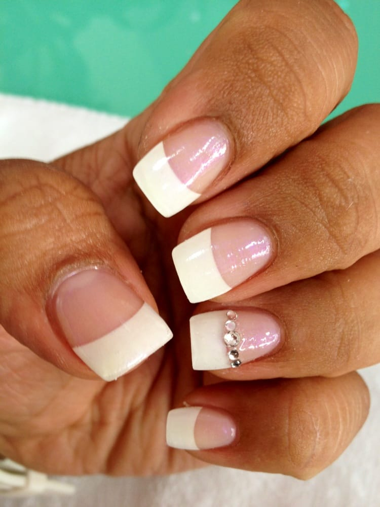 Simple french acrylic w 2 finger design 30 plus tax yelp for A plus nail salon