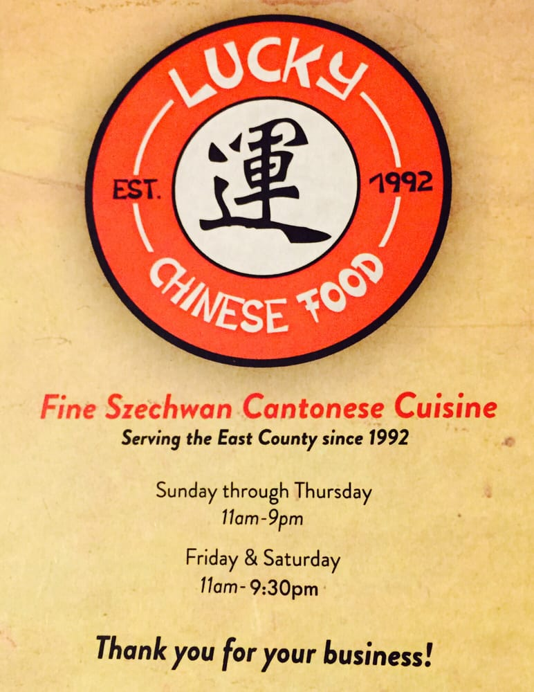 Lucky Chinese Food Menu Santee