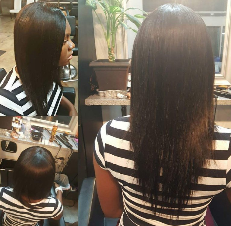 Full Weave Protective Style Showing Here A Fully Hand Sewn And