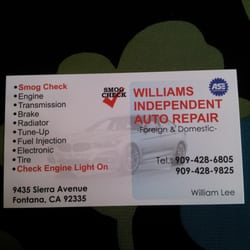 Williams independent automotive service tires 9435 sierra ave photo of williams independent automotive service fontana ca united states business card reheart Images