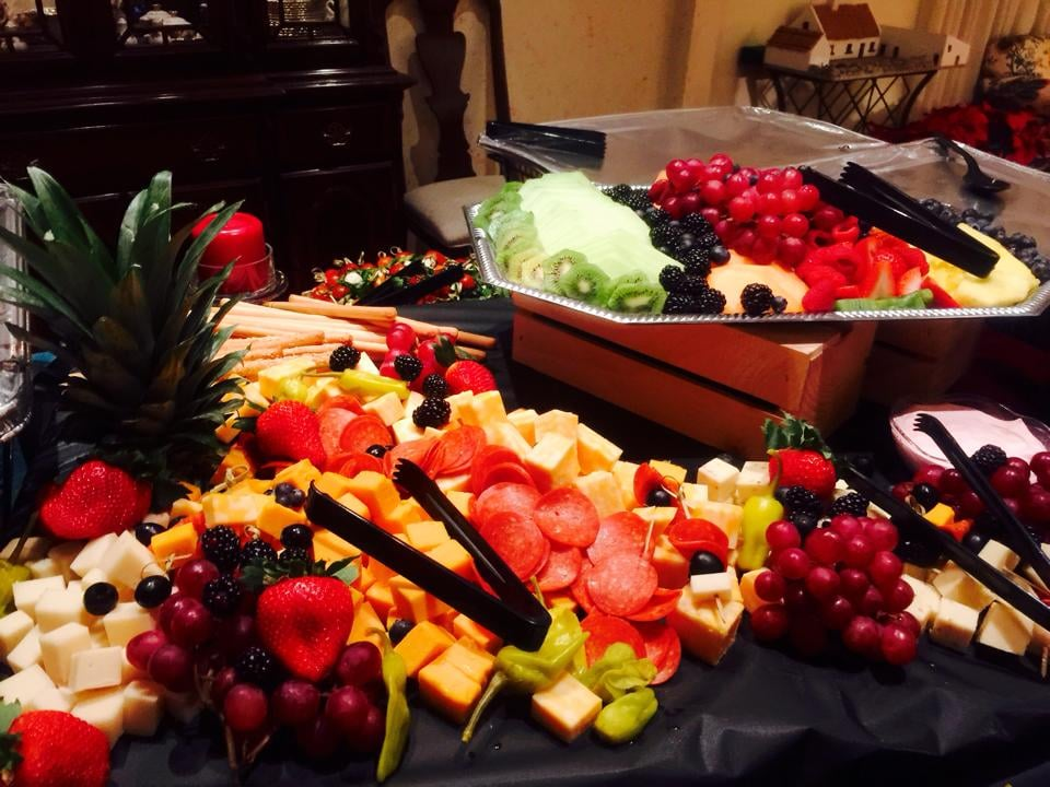 Waterfall Fruit And Veggie Displays: Cheese And Fresh Fruit Display