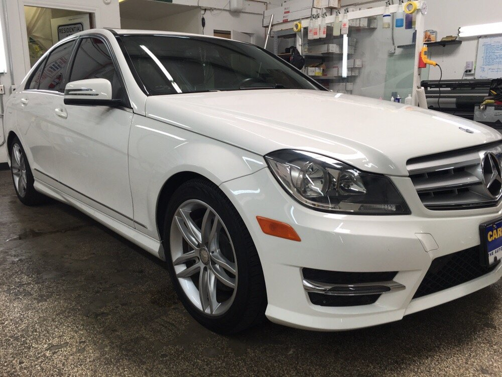 Arctic white mercedes benz c300 full tint yelp for Mercedes benz window tint