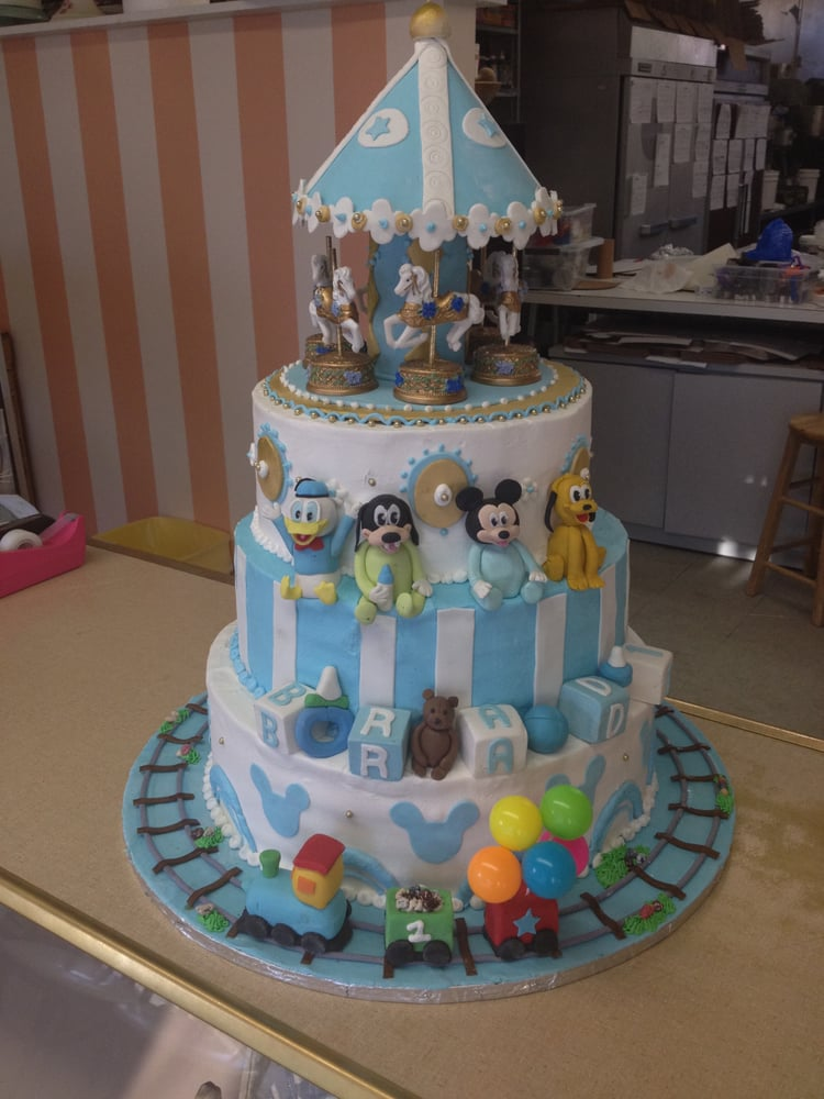 1st Birthday Cake With Fondant Carousel Baby Disney Characters