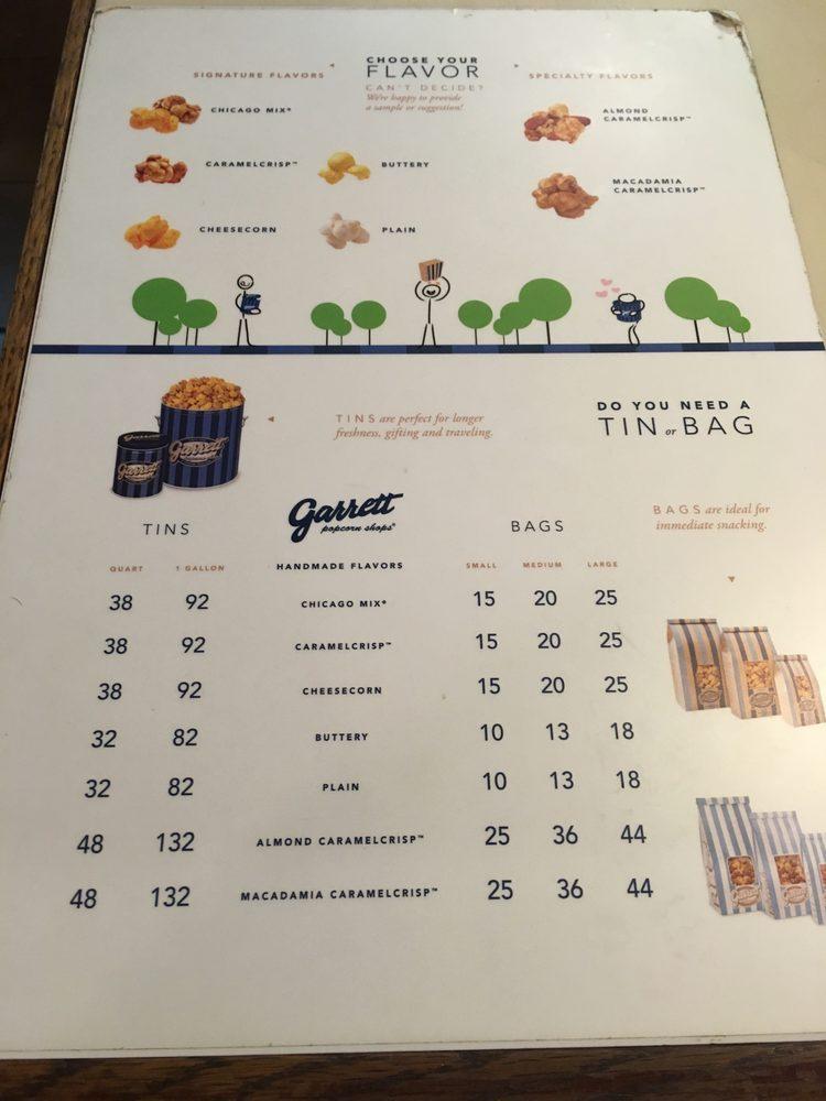 Photo Of Garrett Popcorn Kuala Lumpur Malaysia The Menu Selection And Price List