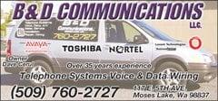B & D Communications: 117 E 5th Ave, Moses Lake, WA