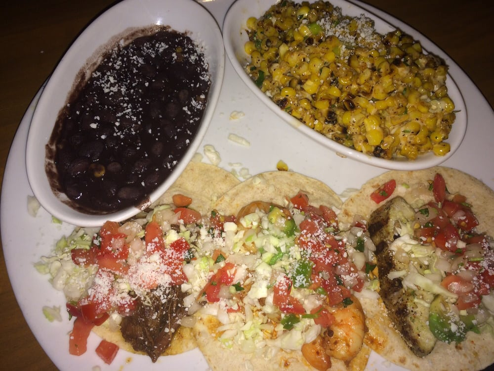 Short ribs shrimp and grilled fish tacos with black beans for Fish tacos near my location