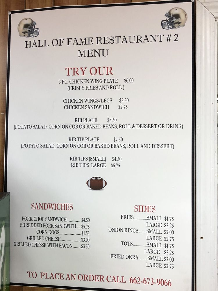 Hall of Fame Restaurant: 54 Dover Rd, Bentonia, MS