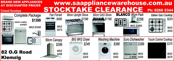 SA Appliance Warehouse - Appliances - 82 OG Rd, Klemzig South ...