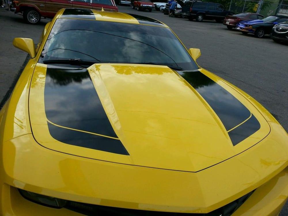 Custom racing stripes yelp for 14 window tint